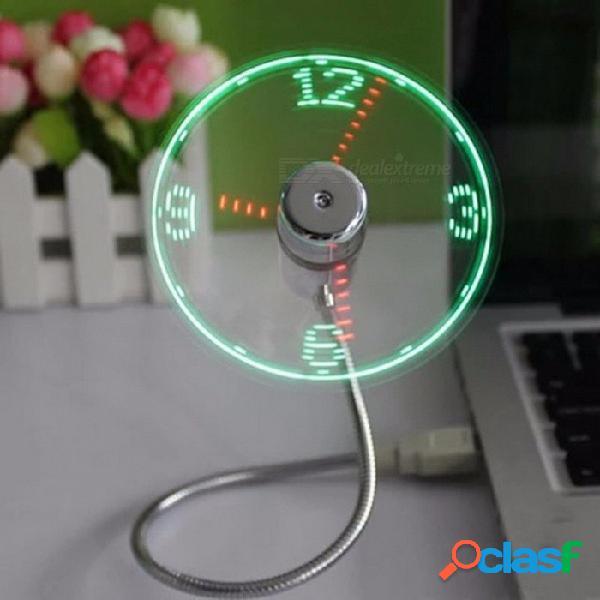Dispositivo usb mini luz led flexible usb fan reloj de tiempo reloj de escritorio dispositivo fresco pantalla de tiempo clara