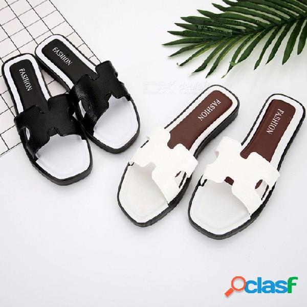 Moda de verano con estilo h sandalias de las mujeres en forma de zapatillas, zapatos de playa planas ocasionales flip flops para niñas (1 par) negro / 36