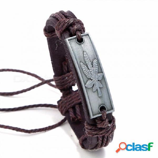 nuevo abrigo de la manera de la vendimia cuerda de cáñamo cinturón de hojas de arce encanto de cuero pulsera para hombres, joyería hecha a mano marrón
