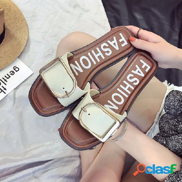 Verano de las mujeres cinturón de hebilla del dedo del pie cuadrado chanclas ocio ocio de moda zapatillas planas fuera de los zapatos para mujer negro / 36
