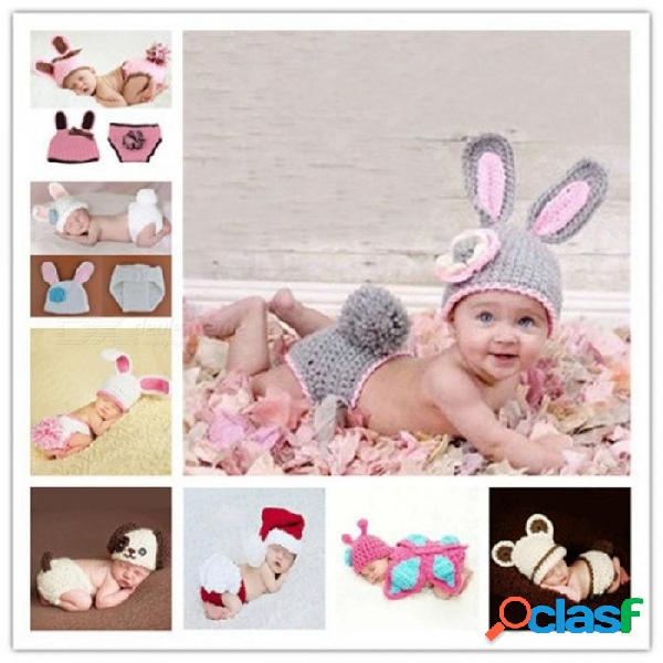 Accesorios de la fotografía del recién nacido crochet conejo sombrero de bebé hecho a mano accesorios recién nacidos bebé capó bebé recién nacido estudio sesión fotográfica prop