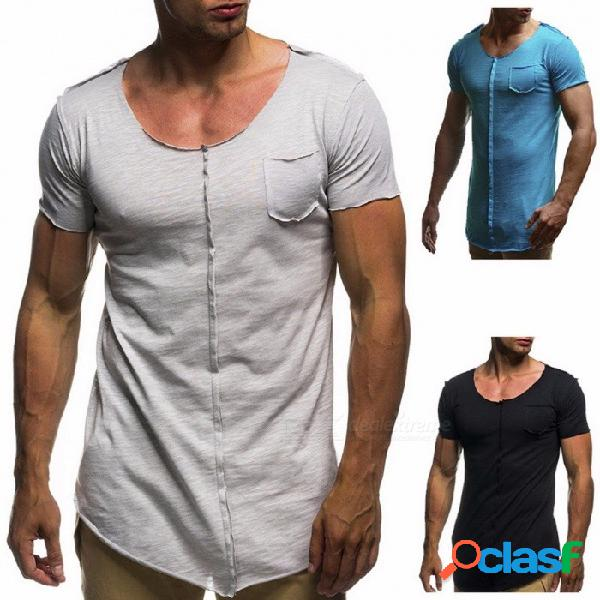 Bolsillo casual de verano empalme camiseta, gran cuello redondo camiseta de manga corta camiseta tops para hombres - plata