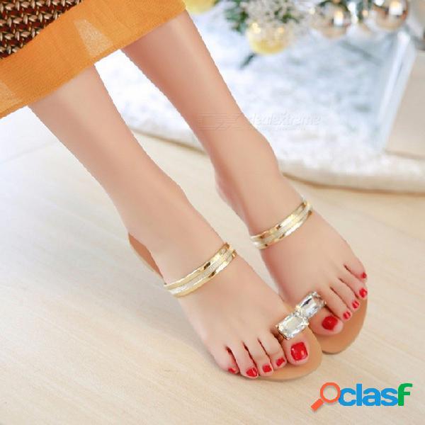 Diamante de moda para mujer del dedo del pie del dedo del pie del verano chanclas planas sandalias mocasines zapatos de bohemia sandalias de gladiador para las mujeres negro / 36