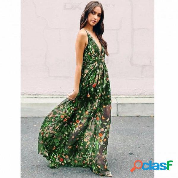 Estilo de moda verano estilo bohemio floral largo maxi correa de espagueti vestido imperio vestido de playa verde sundress