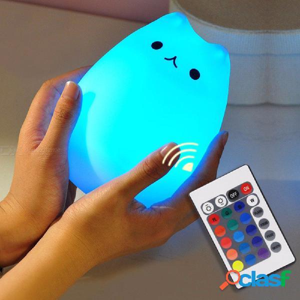 Lindo gatito led niños luz de noche niños silicona gato lámpara 7 colores intermitentes usb luz blanca cálida suave