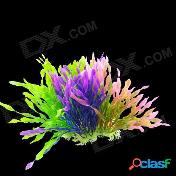 Plantas artificiales de la espuma de la decoración del tanque de los pescados del acuario - verde + color de rosa púrpura (3 pcs)
