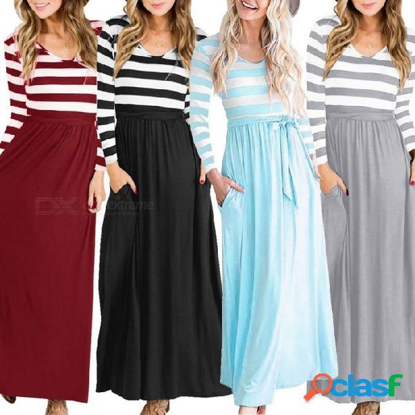 Vestido largo a rayas con cintura alta ocasional para mujer con cinturón que fluye cuello redondo de manga larga falda de otoño para mujeres negro / s
