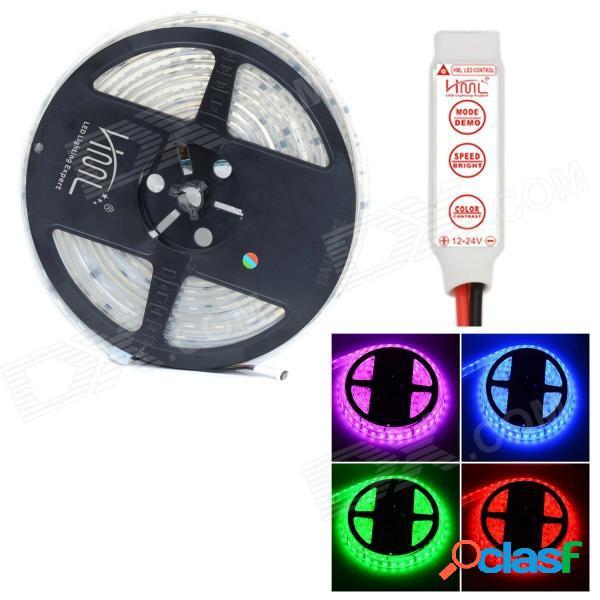 Hml impermeable 72w 300-smd 5050 led rgb luz / tira led blanca cálida con mini controlador rgb de 3 teclas (12v / 5m)