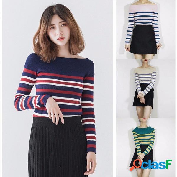 Otoño invierno nuevas mujeres fuera del hombro suéteres de rayas suéteres de manga larga que basa la camisa de punto para mujer azul / de un tamaño