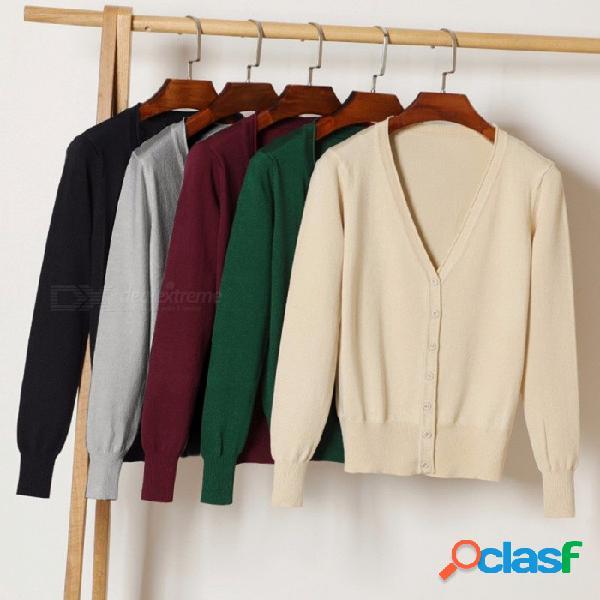 Suéter cardigan de las mujeres suéter de la chaqueta de punto con cuello en v suéter ocasional femme sólidos cardigans sueltos suéteres para mujer beige / m