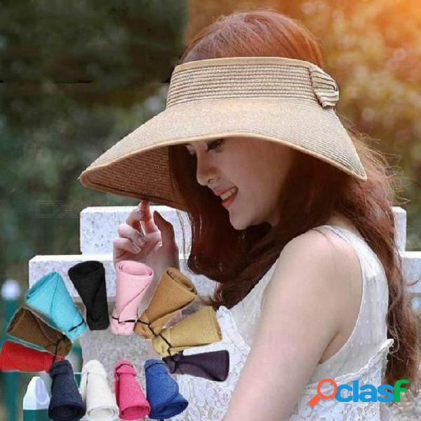 Viseras de primavera verano gorra plegable de ancho grande ala sol sombreros de playa para mujeres sombrero de paja sombrero de sol sombrero de paja negro