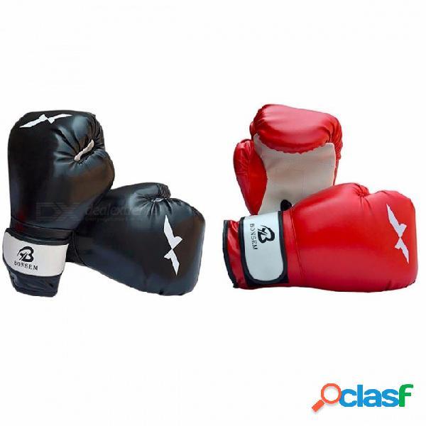 1 par de guantes de boxeo mano entrenamiento boxeo, nuevo estilo guantes de boxeo para sanda karate saco de arena taekwondo luchando rojo