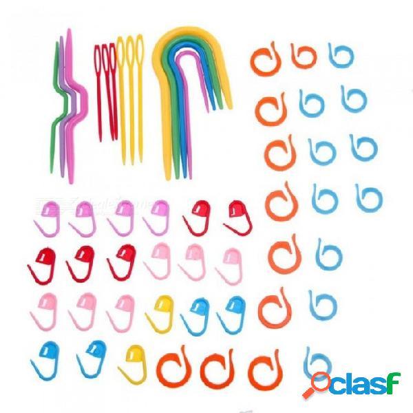 Agujas de tejer de punto de plástico agujas de ganchillo ganchos de plástico marcadores de aguja ganchillo de crochet accesorios de tejer 1 set 1 set
