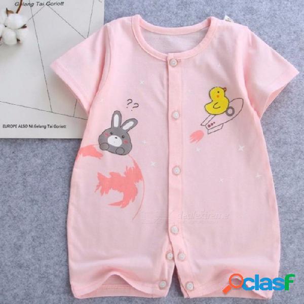 Algodón manga corta infantil bebé mameluco bebé ropa bebé ropa bebé recién nacido mameluco amarillo / 9m
