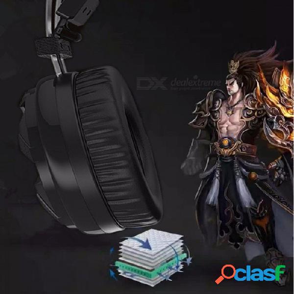 Auriculares con cable universales de 3,5 mm, auriculares de diadema 7.1ch con micrófono y luz led de colores para computadora negra