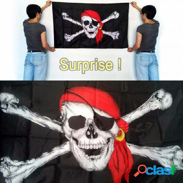 Bandera pirata, 90 * 150cm bandera de calicó, bandera de calavera de halloween jolly roger bandera de poliéster negro / 90 x 150 cm
