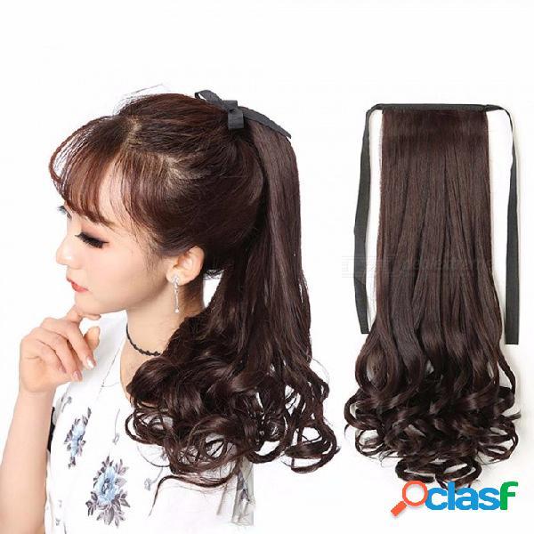 Cordón de fibra de alta temperatura cordón ondulado cola de caballo, clip-en extensiones de cabello sintético falso extensiones para mujeres / 22 pulgadas