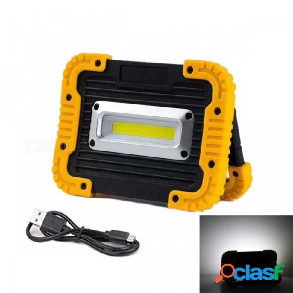 Jrled 10w frío blanco portátil 5v usb recargable 3-modo reflector lámpara de emergencia - negro + amarillo + multicolor