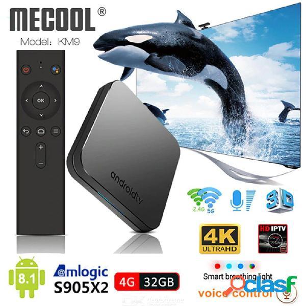 Km9 android 8.1 caja de tv inteligente control de voz s905x2 4gb ddr4 ram 32gb rom 2.4g 5g wifi bluetooth 4.1 4k
