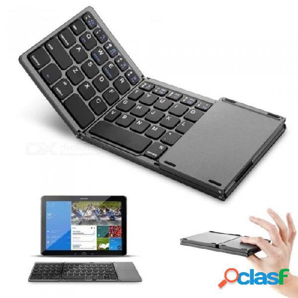 Mini teclado táctil plegable 3.0 bluetooth para iphone ipad samsung dex win ios android system teclado de color negro