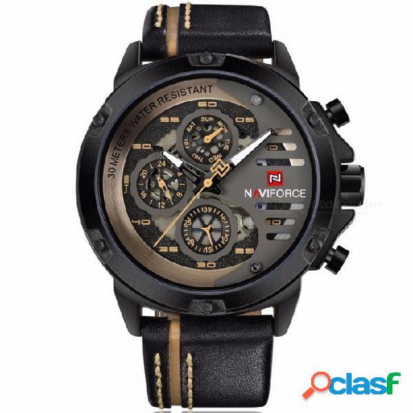 Naviforce relojes para hombre de primeras marcas de lujo impermeable fecha 24 horas fecha reloj de cuarzo hombre cuero deporte reloj de pulsera hombres impermeable reloj negro marrón