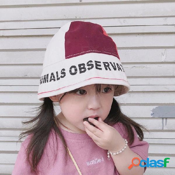 Niño compartimiento sombrero unisex cartoo algodón pescador gorra color de contraste sombrero de playa al aire libre niño niña niños tapa verde