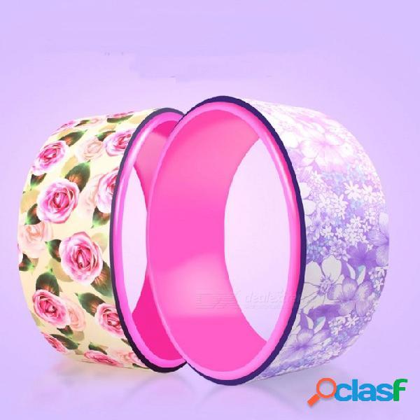 Nueva llegada rueda de círculo de yoga de tpe de 32 cm de diámetro, rueda de estiramiento anillo de yoga impreso flor con carga 150 kg violeta