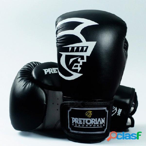 Pretorian portátil universal premium nueva pu cuero muay thai guantes de boxeo para hombres entrenamiento, mma, pateando 16 oz / balck