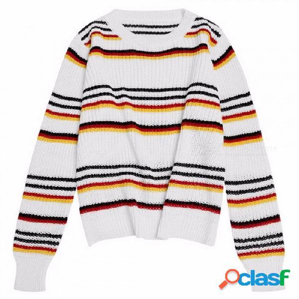Suéter de punto de mujer a rayas retro invierno harajuku suéter de manga larga suelta suéteres de punto para mujeres multi / one size