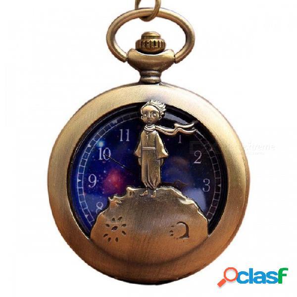 Vintage antiguo bronce retro príncipe pequeño reloj de bolsillo flip fob reloj de cuarzo con collar de cadena regalo para niños adultos oro