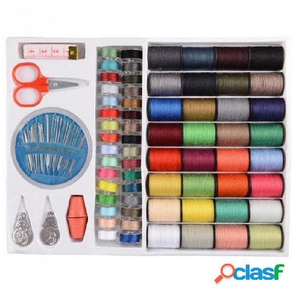 64 carretes con varios colores surtidos para coser hilos agujas conjunto de herramientas de costura kit 10 * 1.1 * 8.3 pulgadas colores surtidos