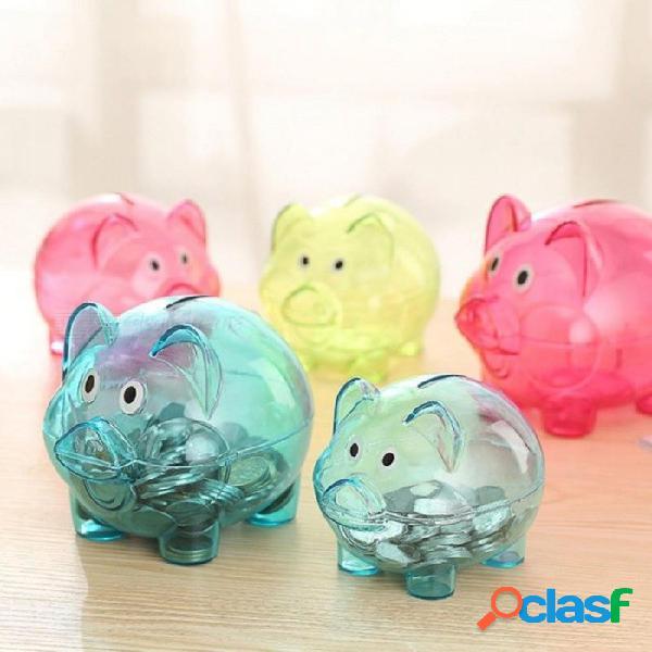 Caja de caja de ahorro de plástico transparente dinero monedas cerdo de dibujos animados en forma de cerdo azul y rosa de dos colores rosa opcional
