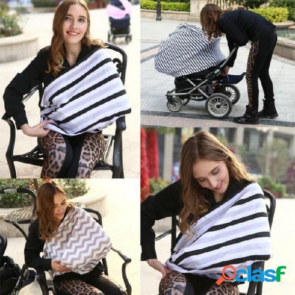Cubierta de asiento de coche de bebé cubierta de enfermería cubierta de lactancia multiusos bufanda de infinito elástico cubierta de carro de la lactancia cubierta de la silla alta negro