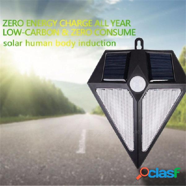 Lámpara de pared solar, luz de pared con diseño de diamante distintivo de 6 led de 3.7 v, luz de trayectoria de patio de sensor de movimiento pir blanca / 0-5w / blanca