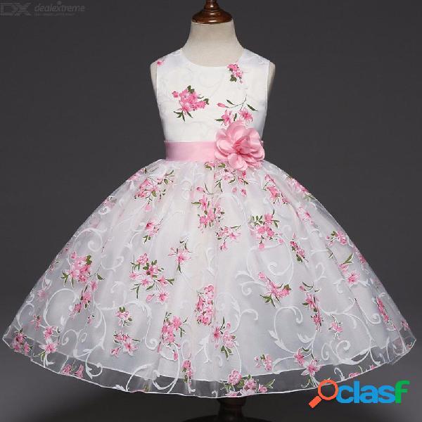 Lindo vestido de malla con estampado floral cuello redondo vestido de fiesta sin mangas para niños pequeños