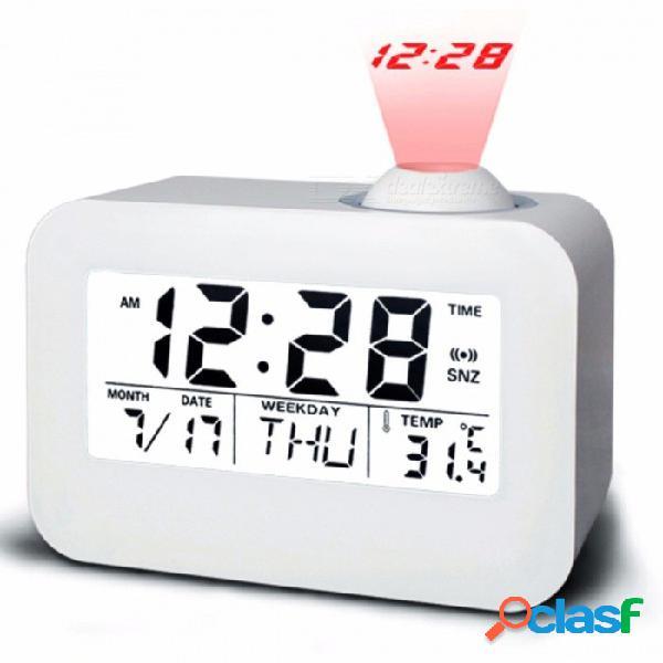 Reloj de alarma digital de proyección lcd, mesa de escritorio electrónica reloj de mesa nixie hablando de reloj proyector con proyección de tiempo