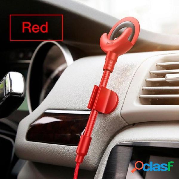 Sostenedor del teléfono del coche para el iphone x 8 7 6 5s 360 grados gps soporte del teléfono móvil soporte del coche cable usb para el soporte de carga del iphone rojo