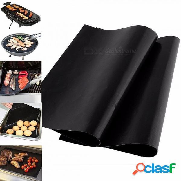 Superficie antiadherente reutilizable barbacoa parrilla, placa para hornear, fácil limpieza a la parrilla placa caliente para picnic, camping negro
