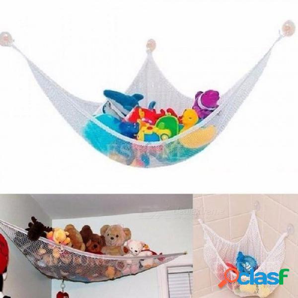 Divertido útil para colgar hamacas de juguete para organizar muñecos de animales de peluche con una malla de hamacas de material de color blanco