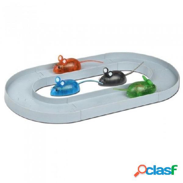 Gato simulación de juguete electrónico robot del gato del juguete del ratón con la pista de carreras difícil pequeño rompecabezas del juguete del ratón para niños perro gato 1 juego