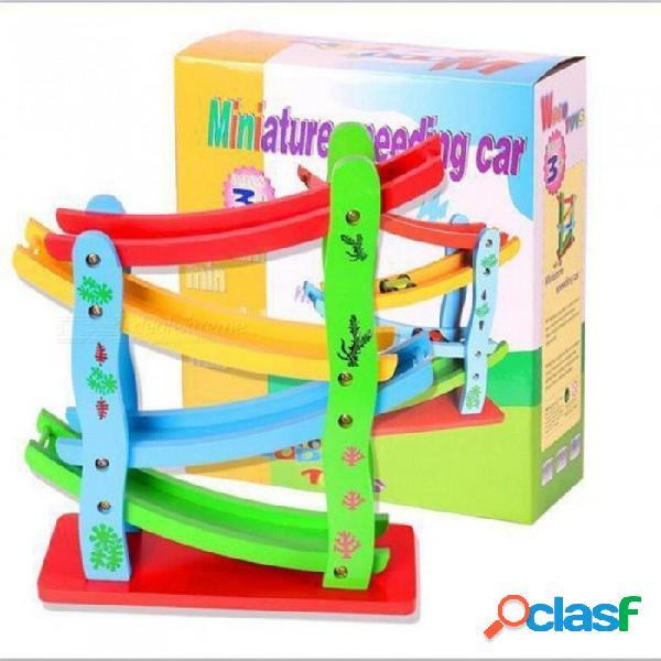 Haga clic en clac pista de carreras de madera para niños carro de carreras pista de carreras juguete de repuesto coche de madera material con colorido colorido