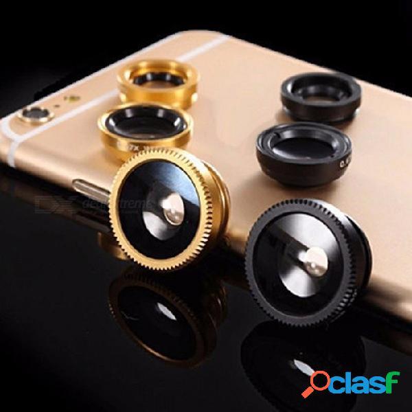 Lente de ojo de pez de cristal 3 en1 kit de lente de cámara de teléfono móvil macro gran angular para iphone, teléfonos inteligentes samsung