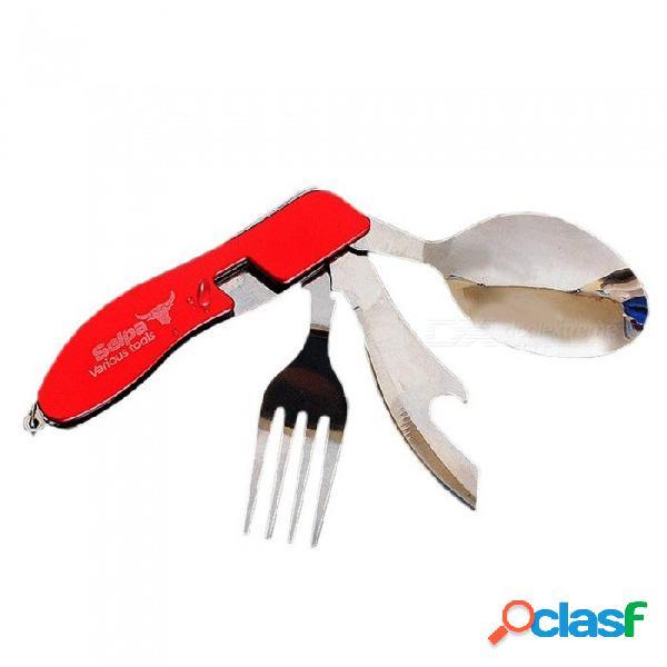 Multifuncional acampar al aire libre de picnic vajilla de acero inoxidable 3 en 1 cuchara plegable tenedor abrebotellas conjunto rojo