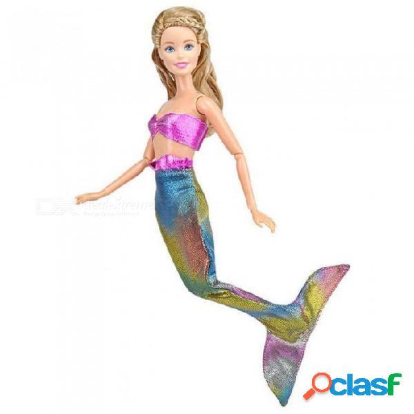 muñecas hechas a mano vestido de fiesta vestido falda ropa de moda para la muñeca barbie vestido de cola de sirena genuino bebé juguete # 9