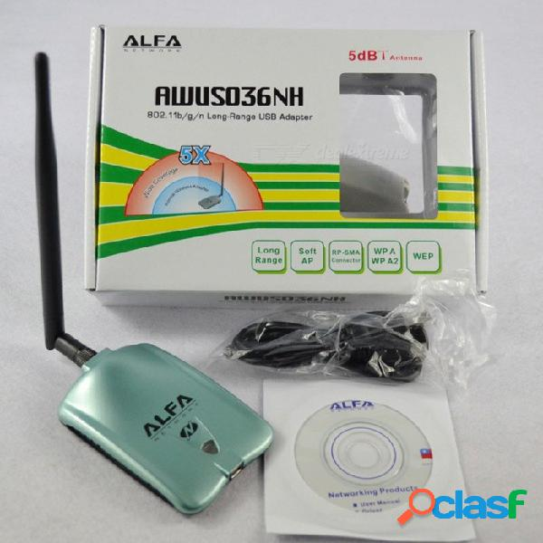 Alfa awus036nh red ralink 3070l tarjeta de red wifi 2000mw alfa wifi adaptador usb inalámbrico con antena 5dbi