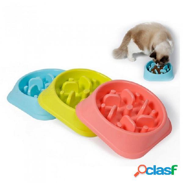 Alimentador de mascotas de plástico tazón de perro de estrangulación anti gato de cachorro lento comer alimentador plato de dieta saludable diseño de la selva rosa azul verde m / verde