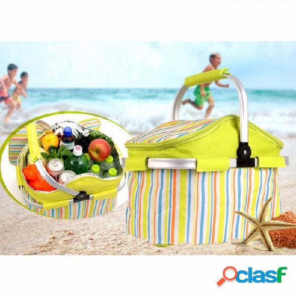 Paquete plegable al aire libre del bolso del aislamiento de la comida campestre, cesta del bolso de la barbacoa, paquete fresco del hielo de la caja de la comida del coche para el verde que a