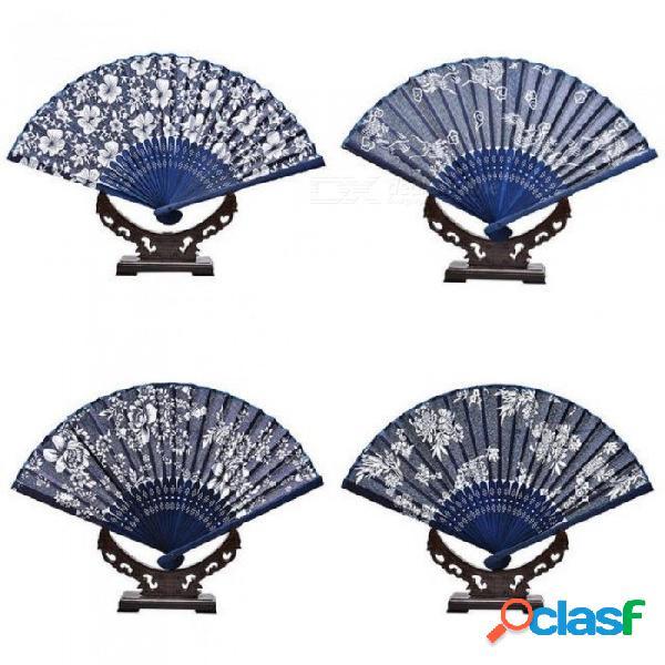 Abanico de mano plegable tela boda floral favor favor ventilador de bolsillo ventiladores chinos abanico clásico bambú + tela azul profundo