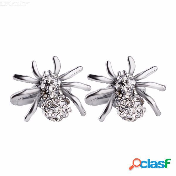 Botones de moda de los botones de la moda de los regalos de los gemelos de la araña del rhinestone para los hombres - plata