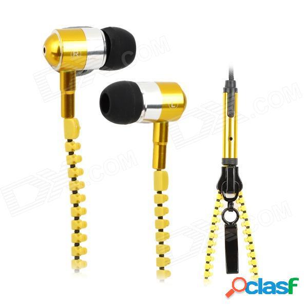 Estilo con cremallera estilo universal 3,5 mm jack con cable auricular w / micrófono para iphone / htc / samsung